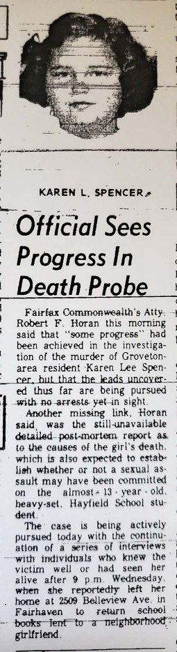 "Newspaper clipping with headline ""Official sees progress in Death Probe"""
