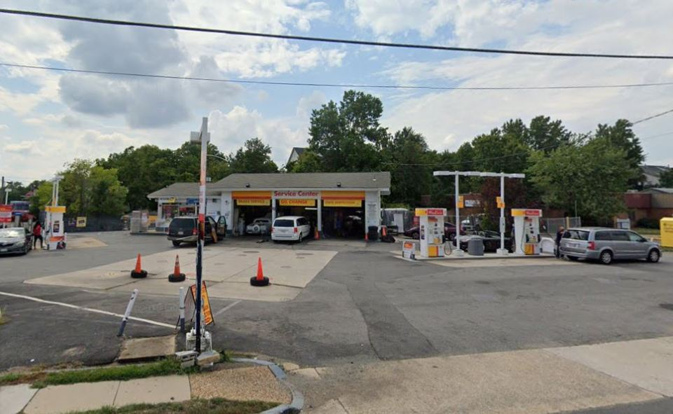 The Shell station is seen during the daytime
