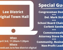 Graphic made for Lusk's town hall showing time