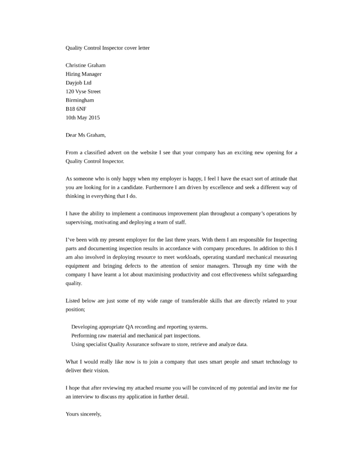 Basic Quality Control Inspector Cover Letter