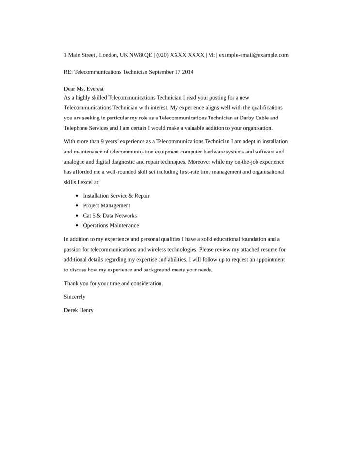 telecom resume cover letter