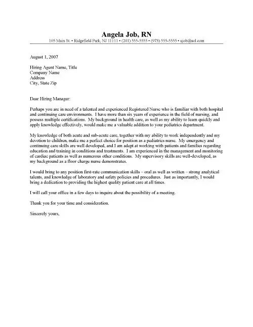 RN Cover Letter Template 2