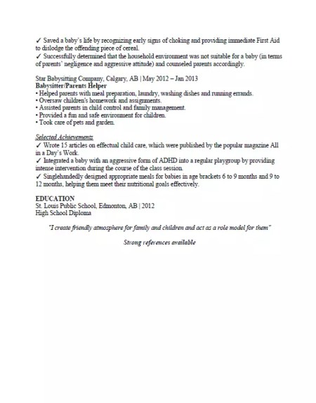 babysitting resume sample  u0026 format