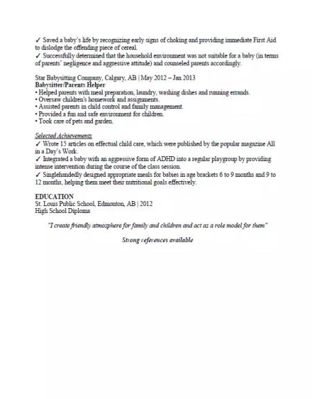 babysitting resume sample  u0026 format