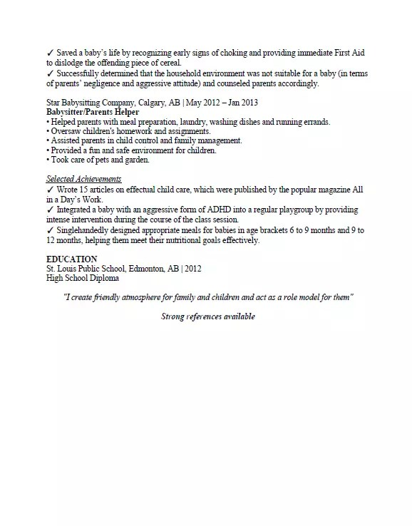 Babysitter Resume Sample Page 2