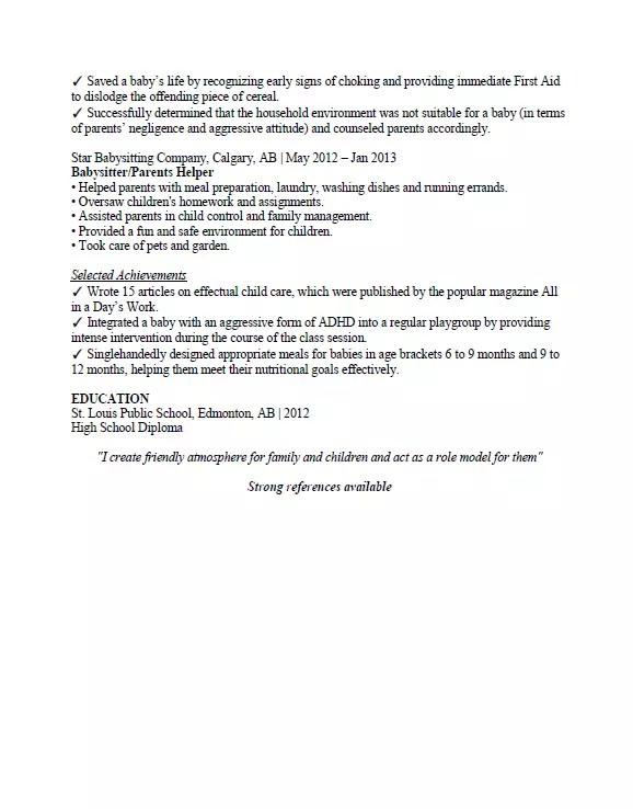 Babysitting Resume Sample Format