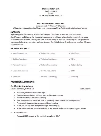 Certified Nursing Assistant Cna Resume Sample Clr