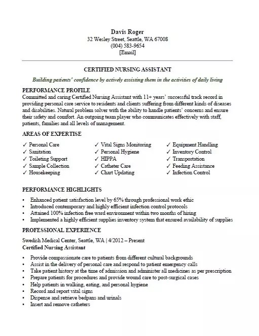 certified nursing assistant  cna  resume sample