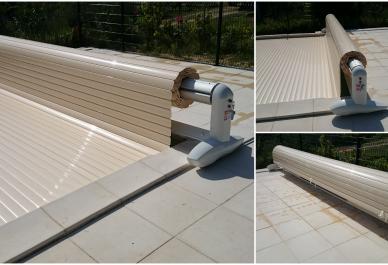 rideau de piscine lectrique avec rails coverline france. Black Bedroom Furniture Sets. Home Design Ideas
