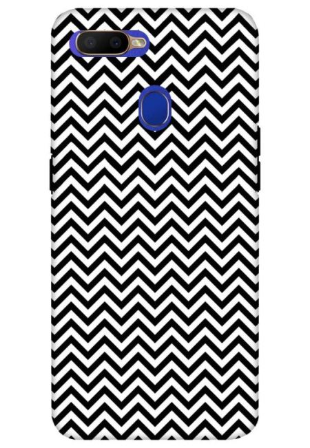 White & Black Zigzag Mobile Cover For Oppo A5S