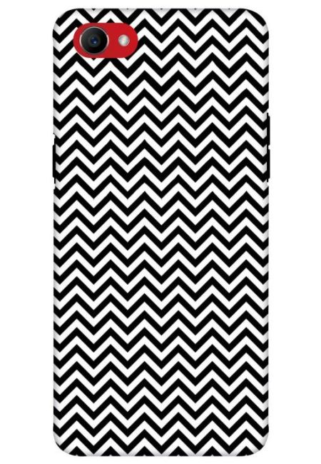 White & Black Zigzag Mobile Cover For Oppo F7 Youth