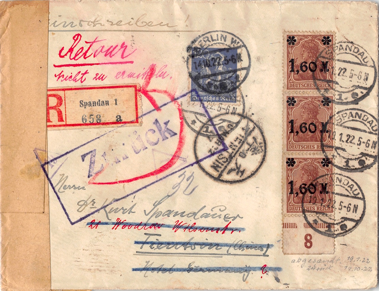 1922, Retour-Einschreiben aus Deutschland nach China, Letzttag, Incoming Mail