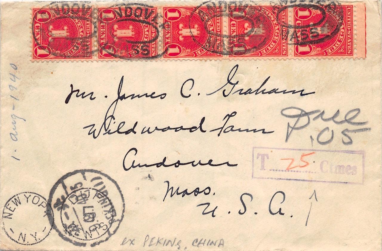 1940, Nachporto-Brief aus Peking in die USA