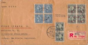 """1940, """"Überdruck-Provisorien"""" auf Zensur-Einschreibbrief aus Shanghai nach Prag (Böhmen und Mähren)"""