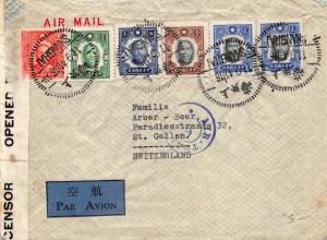 """1941, Air-Transit-Stempel """"6"""" auf Zensur-Luftpostbrief aus Shanghai in die Schweiz"""