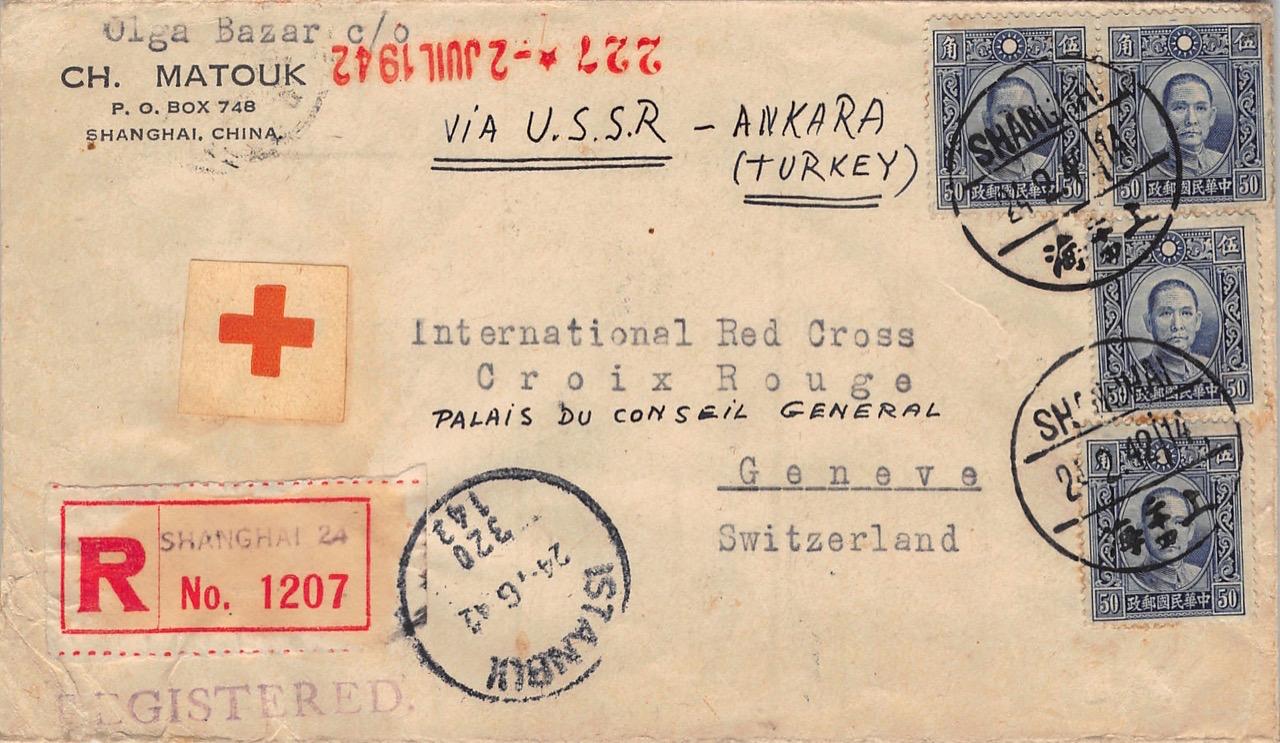 1942, Rot-Kreuz-Brief aus Shanghai via Sowjetunion und Türkei in die Schweiz