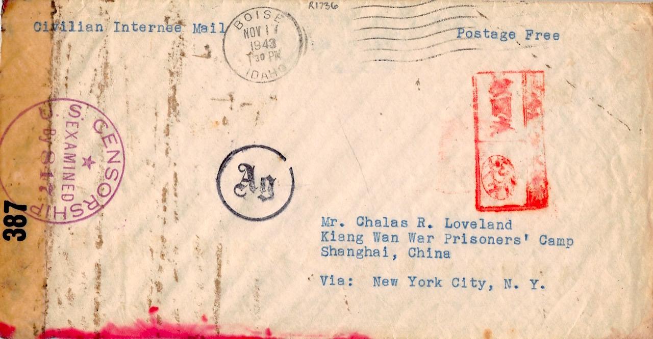 1943, zensierter Brief aus den USA über Wien ins japanische Kriegsgefangenenlager Kiang Wan (Shanghai)