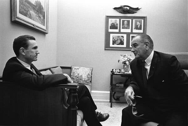 Mr. Clark with President Lyndon B. Johnson at the White House in 1967. As the Vietnam War came to dominate the Johnson administration, Mr. Clark later said, the president was well aware of his opposition to it.