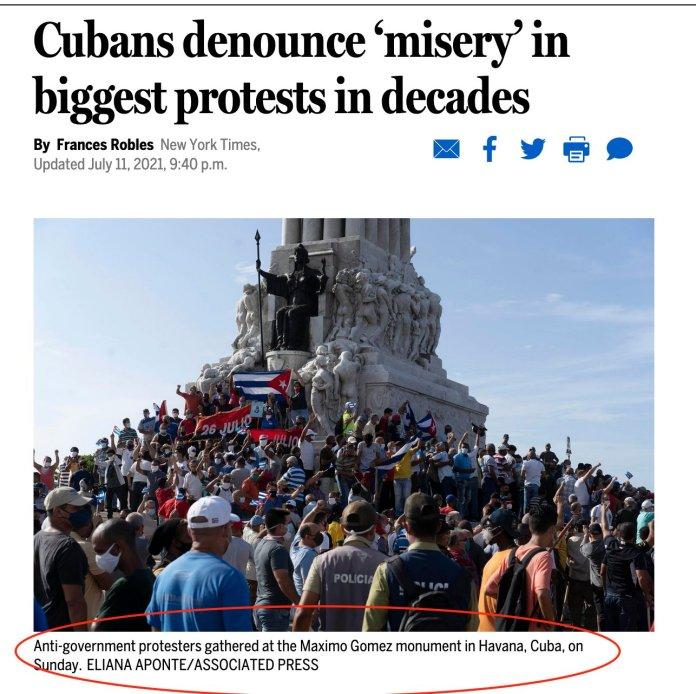 Boston Globe: Cubanos denuncian la 'miseria' en las protestas más grandes de las últimas décadas