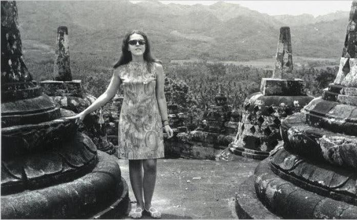 Stanley Ann Dunham at Borobudur in Indonesia, in the early 1970s.