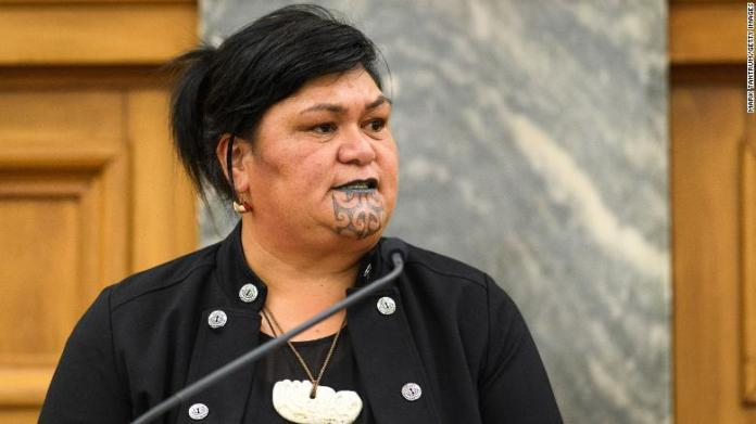 Nanaia Mahuta introduces Prime Minister of Papua New Guinea James Marape to guests at Parliament on February 24, 2020 in Wellington, New Zealand.