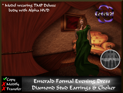 Emerald Formal evening Dress + Jewelry