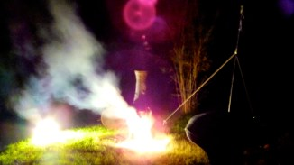 Bonfire in the iron stove as well as fireworks