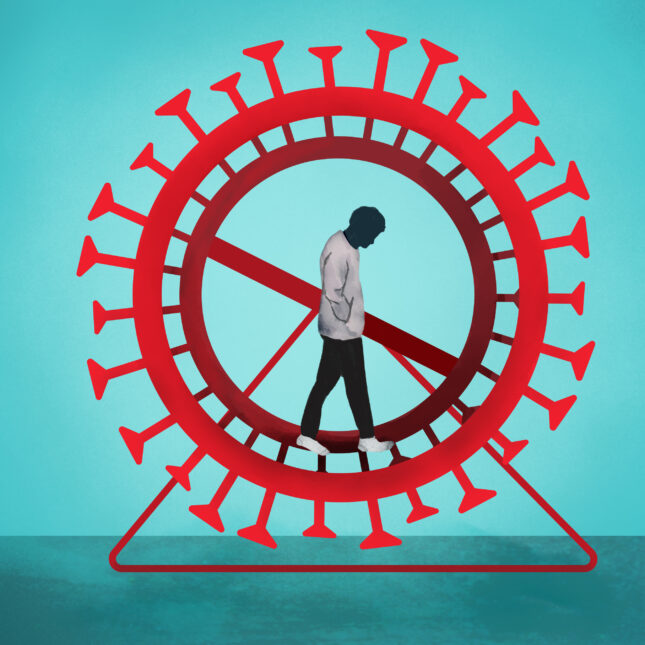 Infographic showing a man walking inside a wheel