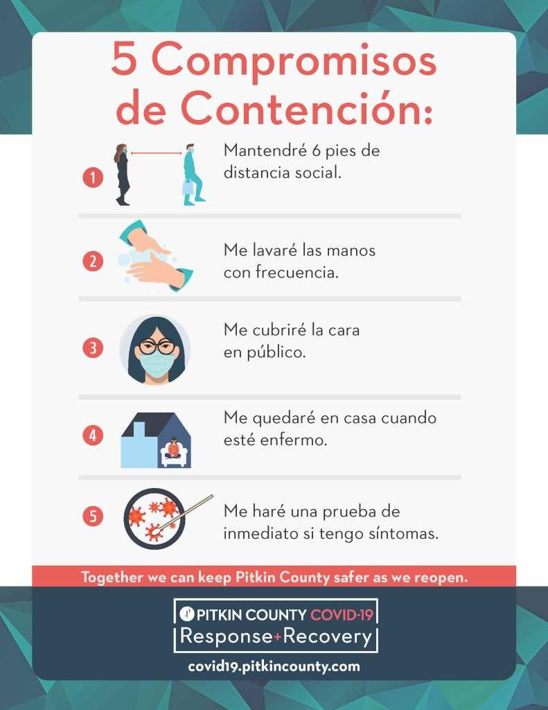 5 compromisos de contención folleto inglés