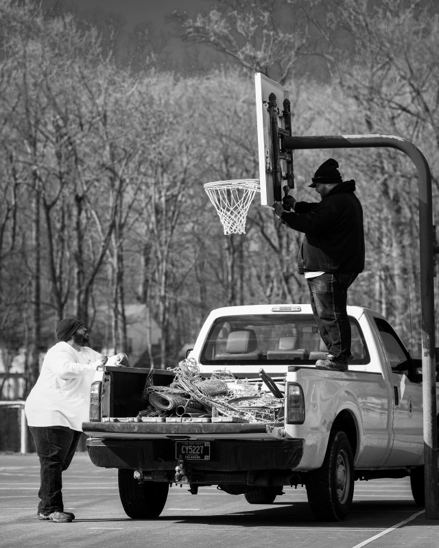 Removing the Basketball Hoops at Talley Day Park - Marjorie