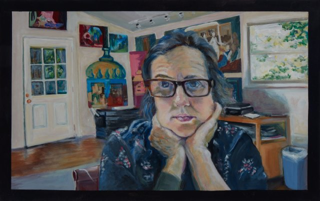 A painting of a woman wearing glasses in a room featuring artwork with a window and door in the background.