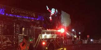 Santa atop fire engine