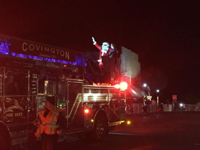 Santa atop fire engine