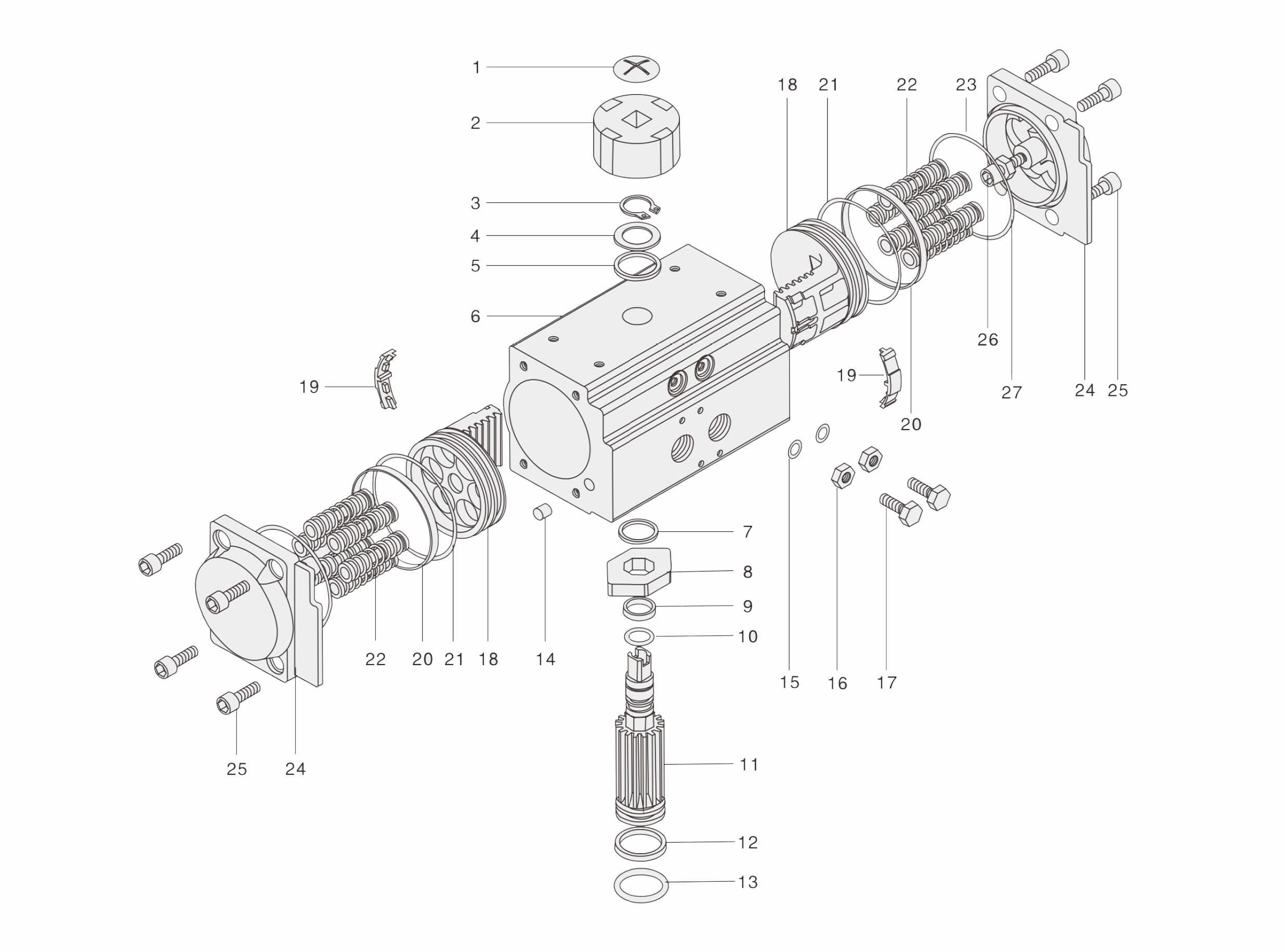 27 Components Of Covna Rack Amp Pinion Pneumatic Actuator