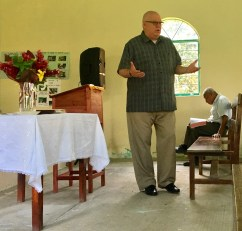 preaching at a village church on a mountain in the Huasteca Indian region