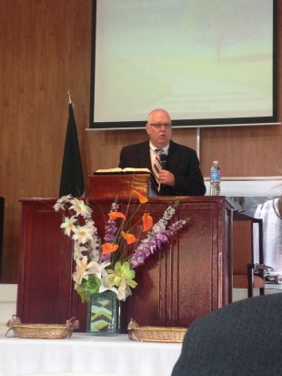 preaching at our home church in San Luis Potosi, Mexico