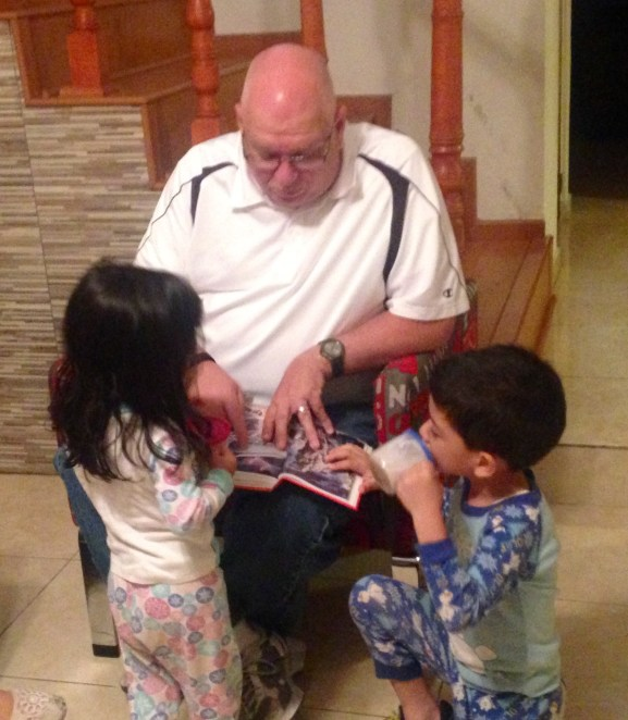 teaching Bible stories at a Bible study we lead in a home