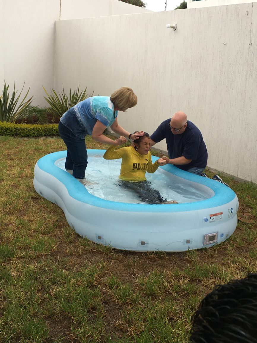 Baptizing Laura Elena from Tierra blanca at our house. There's no running water at her house.