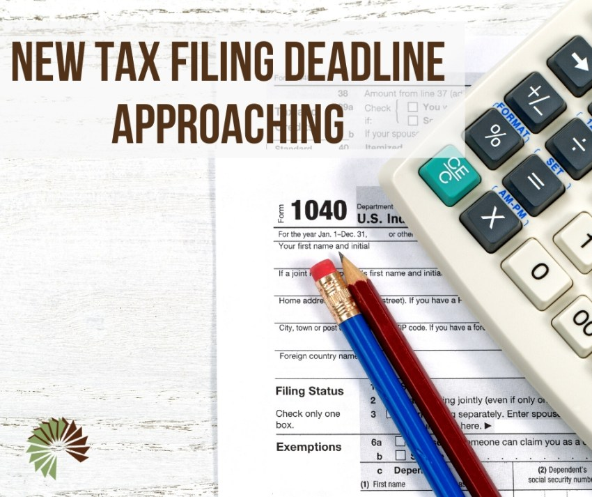 Text: New Tax Deadline Approaching Image: Tax documents, pencils, and calculator