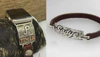 b bar j custom designs silver silverwork engraving engrave silversmith apple watch bracelet cuff cowgirl magazine