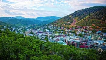 park city utah town streets birds eye view mountains landscape cowgirl magazine