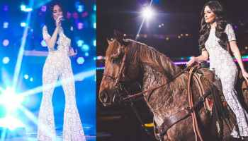 kacey musgraves cowgirl magazine houston livestock show and rodeo Houston rodeo concert Selena Michael Kors jumpsuit como la flor