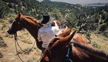 Dear Cowgirl, Cowgirl with two horses looking at how far she has come