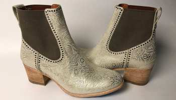 gold boots with brown heels