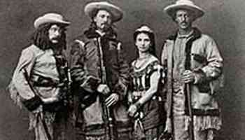 wild woman of the west with men, including buffalo bill cody