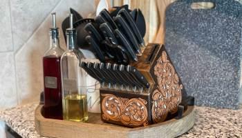 Jason Becker custom leather knife block tooled leather custom kitchen cutlery cowgirl magazine
