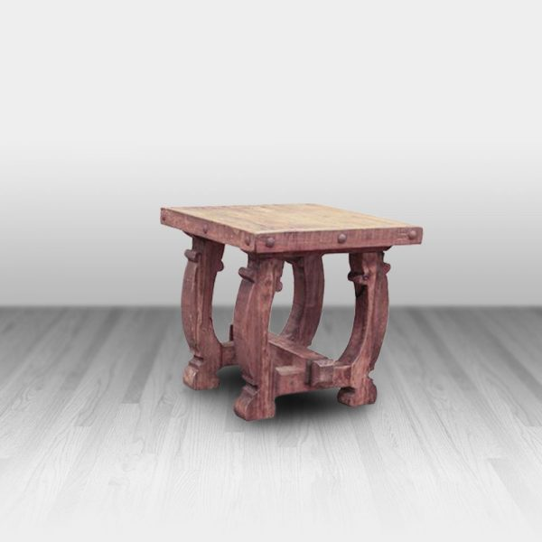 old wood top end table