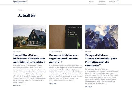 Nouveau portail sur l'investissement