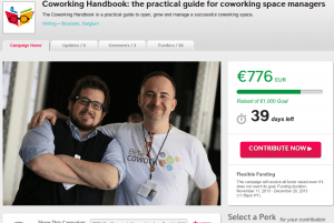 Home page of the crowdfunding campaign for the coworking handbook