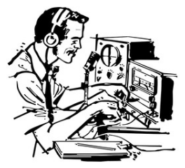 Man At Radio Controls (Cartoon)